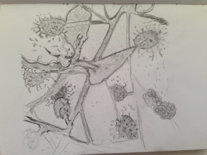 pencil drawing of shrub against the wall